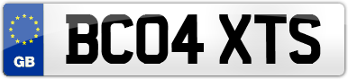 Plate image for registration plate BC04XTS