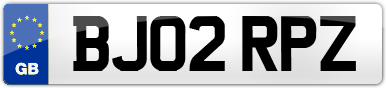 Plate image for registration plate BJ02RPZ