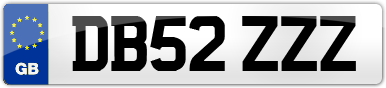 Plate image for registration plate DB52ZZZ