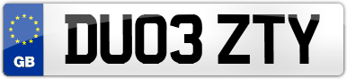 Plate image for registration plate DU03ZTY