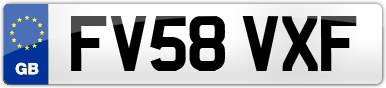 Plate image for registration plate FV58VXF