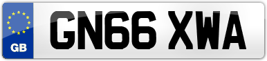 Plate image for registration plate GN66XWA