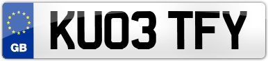 Plate image for registration plate KU03TFY