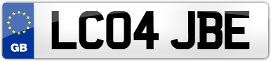 Plate image for registration plate LC04JBE