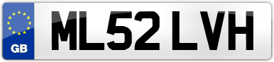 Plate image for registration plate ML52LVH
