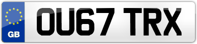 Plate image for registration plate OU67TRX