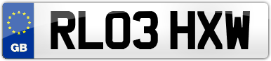 Plate image for registration plate RL03HXW