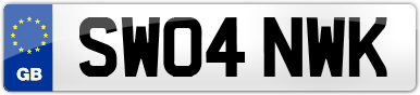 Plate image for registration plate SW04NWK