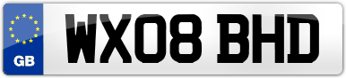 Plate image for registration plate WX08BHD