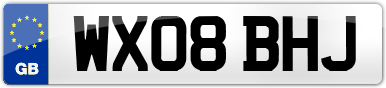Plate image for registration plate WX08BHJ