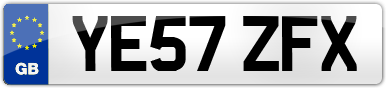 Plate image for registration plate YE57ZFX