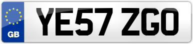 Plate image for registration plate YE57ZGO