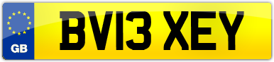 Plate image for registration plate BV13XEY