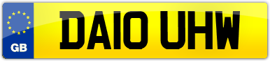 Plate image for registration plate DA10UHW