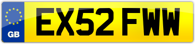 Plate image for registration plate EX52FWW