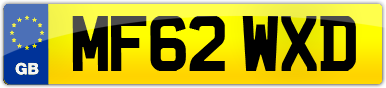 Plate image for registration plate MF62WXD