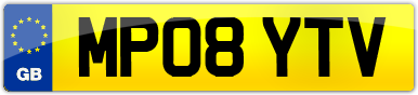 Plate image for registration plate MP08YTV