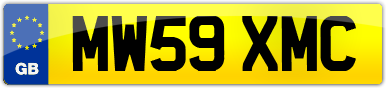 Plate image for registration plate MW59XMC