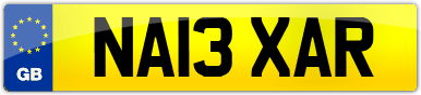 Plate image for registration plate NA13XAR