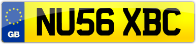 Plate image for registration plate NU56XBC