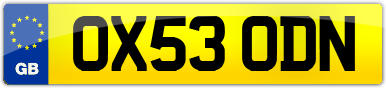 Plate image for registration plate OX53ODN