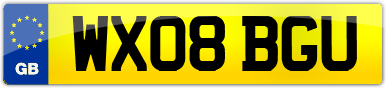 Plate image for registration plate WX08BGU