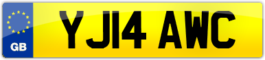 Plate image for registration plate YJ14AWC